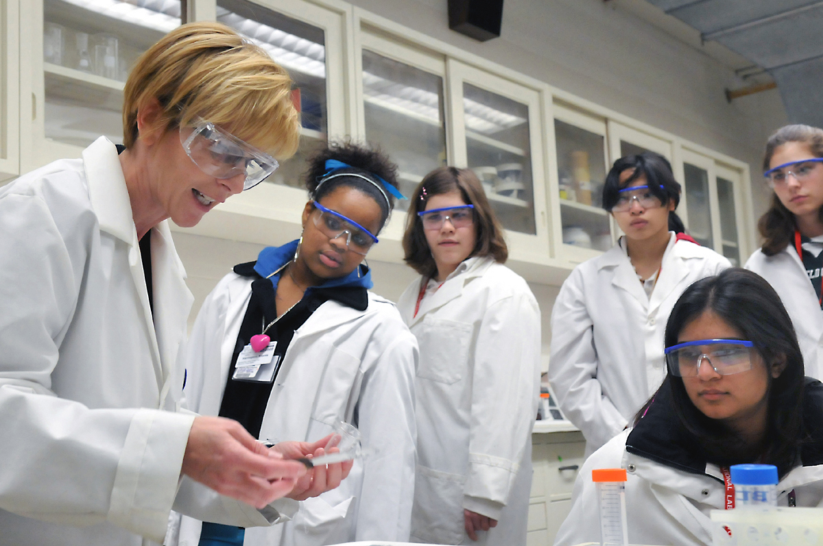 career development benchmarks secondary students perform science experiments in a school laboratory