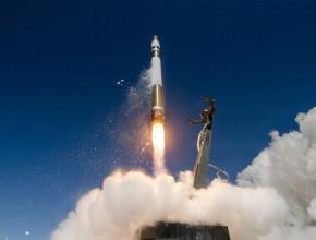 A Rocket Lab Electron rocket launching a satellite into space