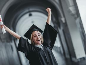 A new graduate celebrates her achievement