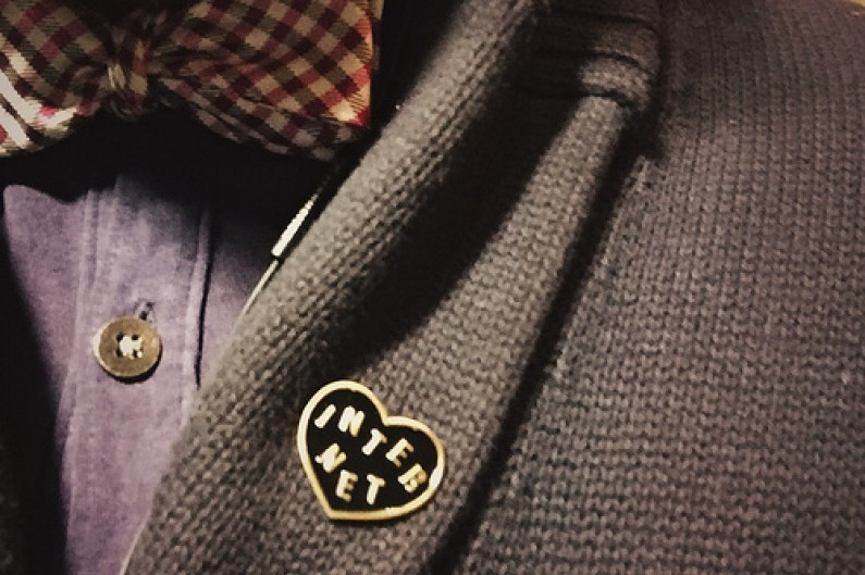 Heart-shaped internet badge on a jacket