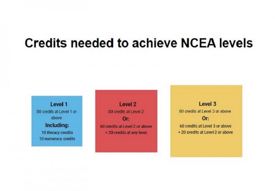 Infographic shows the credits needed to achieve NCEA at Level 1, 2, 3.