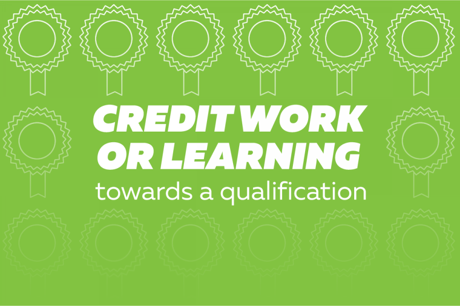 Credit work or learning towards a qualification