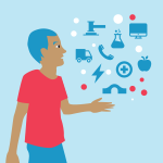 An illustration of a man staring at some icons floating above his hand. The icons represent an axe, van, phone, lightning bolt, apple, bridge, computer, beaker, health sign, surrounded by red and white bubbles. The colours are light blue, blue, red and br