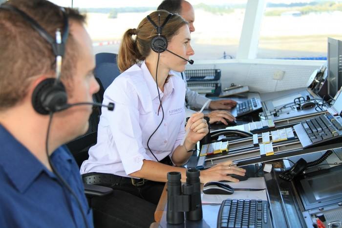 Air traffic controllers at RNZAF Base Ohakea controlling aeroplane traffic