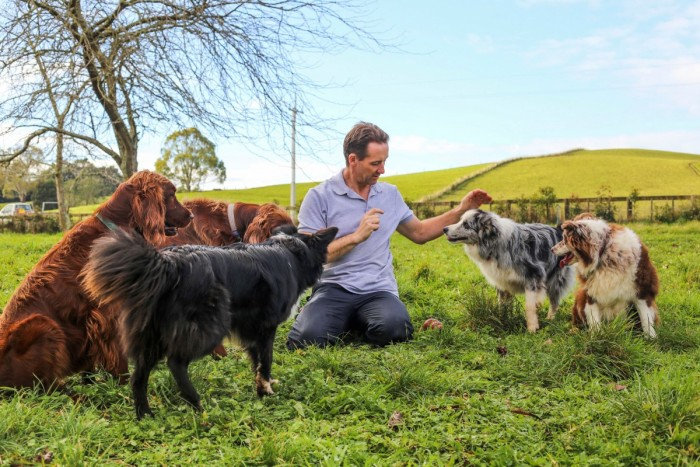 Dog trainer Darran Rowe sits in grass surrounded by dogs