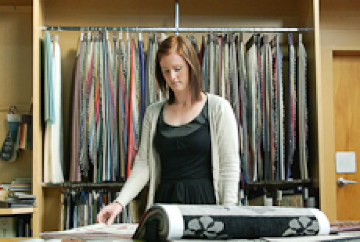 Fiona Tregonning Looking At Fabric Samples
