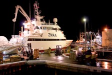 A ship unloading at night under lights
