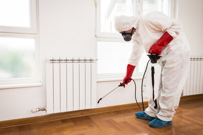 A man wearing a protective bodysuit sprays pesticide along the interior wall of a house