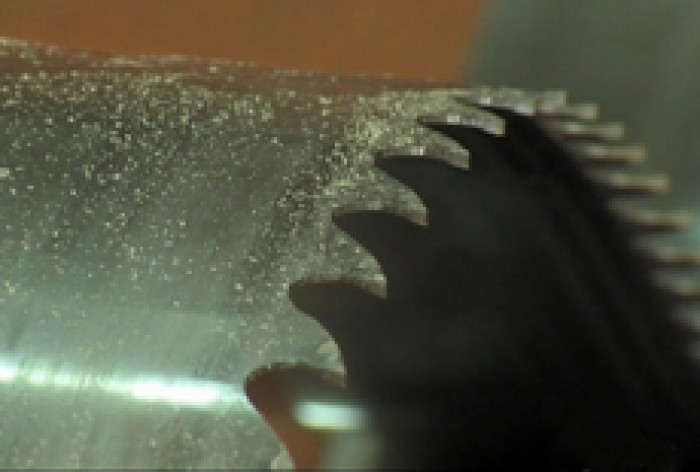 The sharp edge of a saw