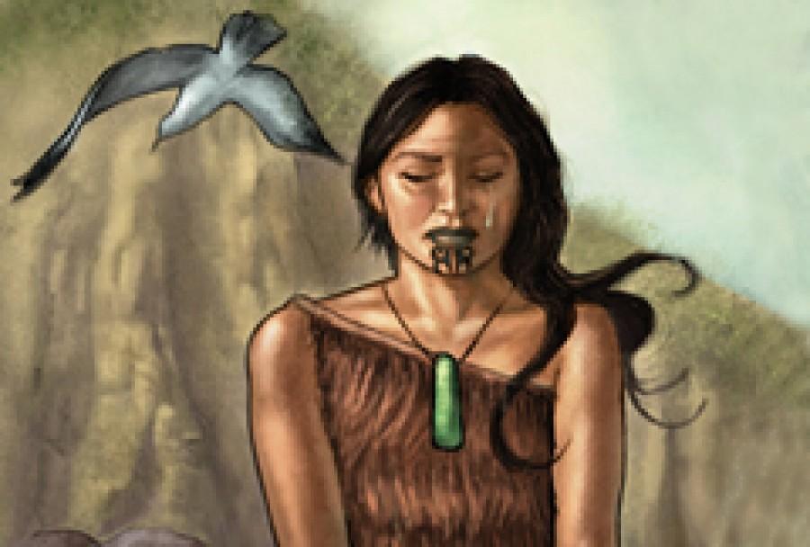 Illustration of Taranga setting Māui out to voyage on the sea