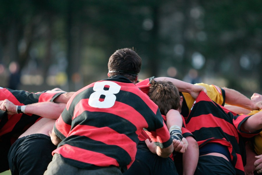 A high school rugby team playing a match