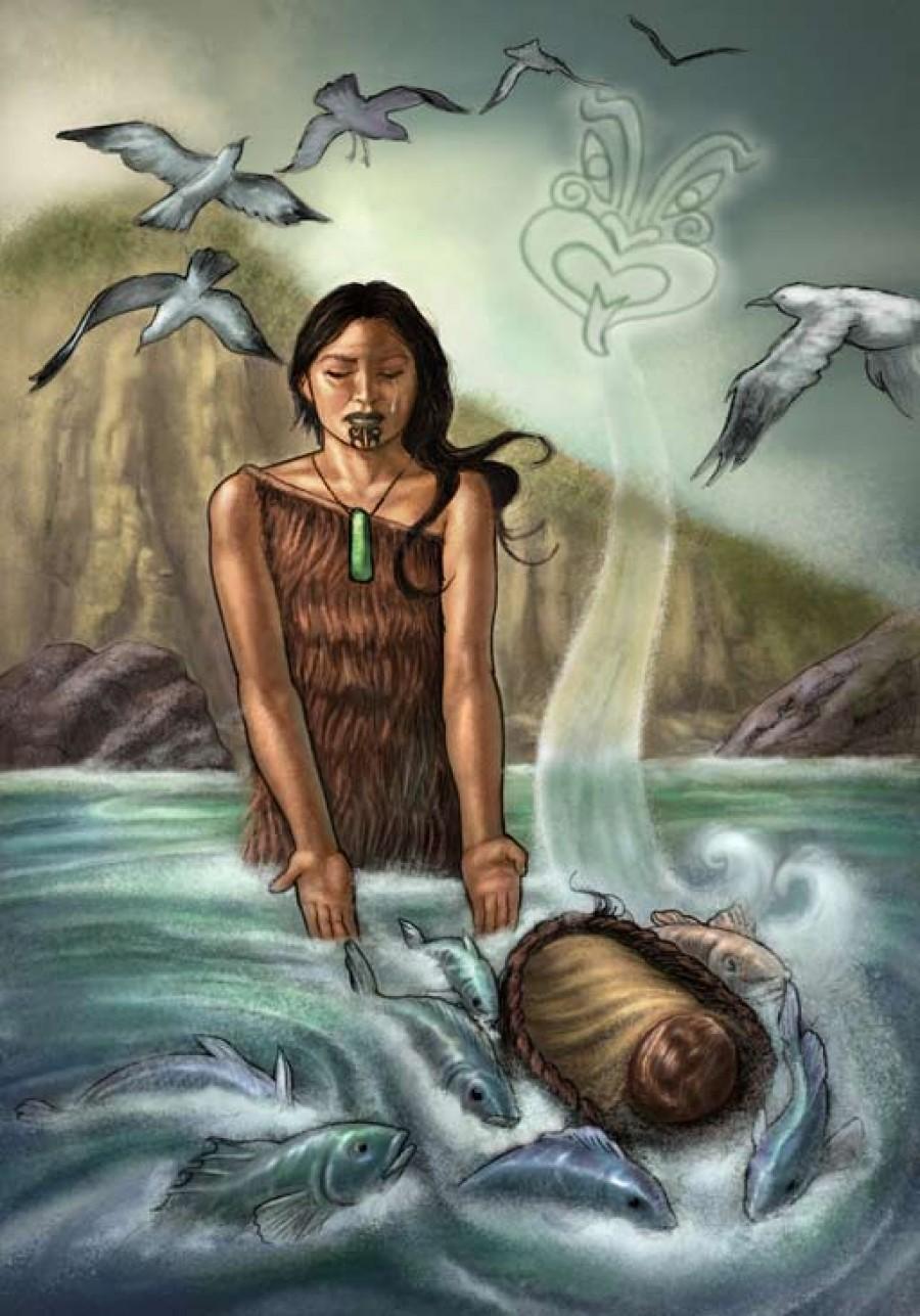Illustration of Taranga putting baby Māui into the sea