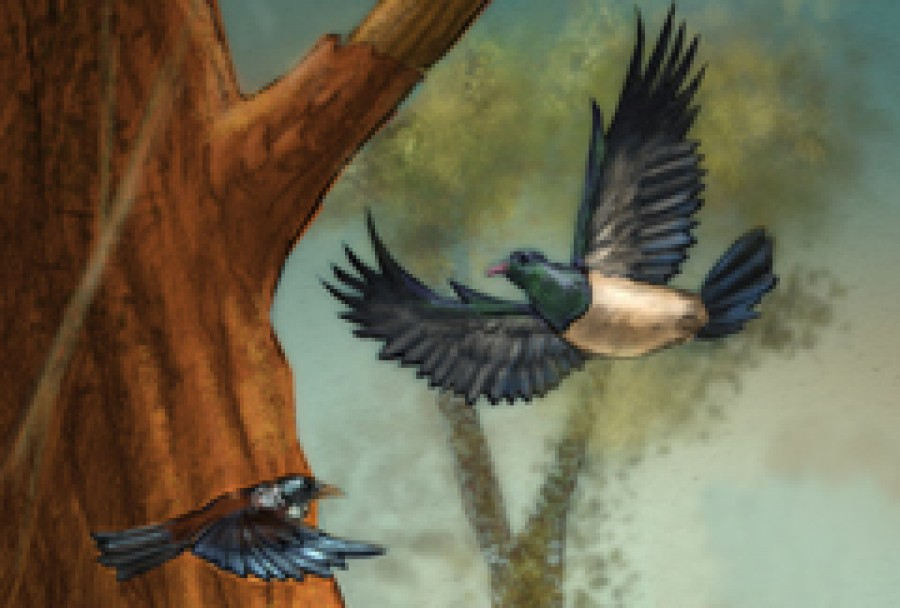Illustration of two birds flying past a tree