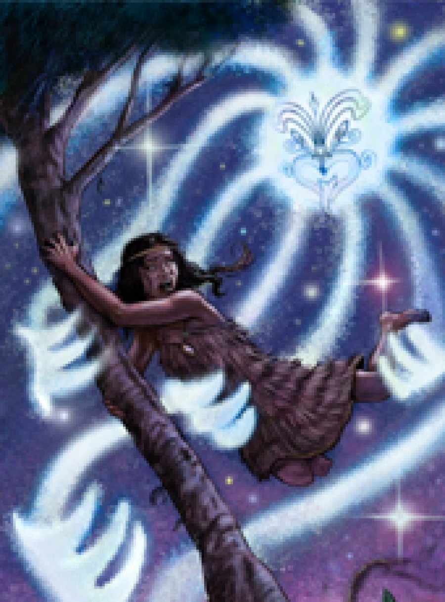 Illustration of Rona clinging to a ngaio tree as rays of moonlight pull her towards the sky