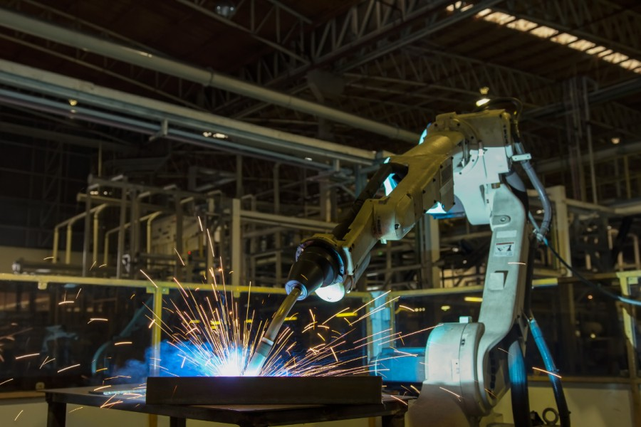 A robotic welding machine at work
