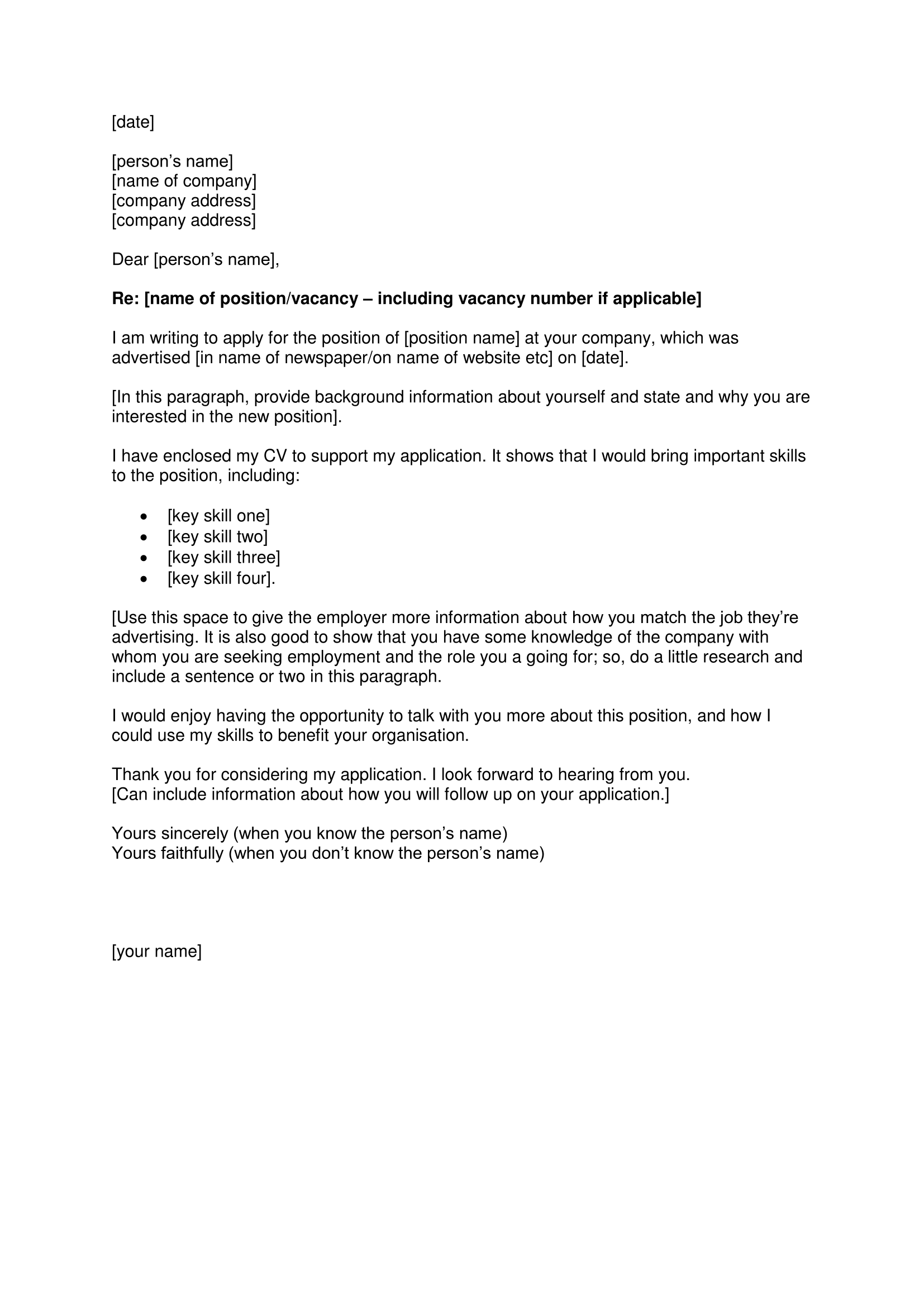 cover letter article