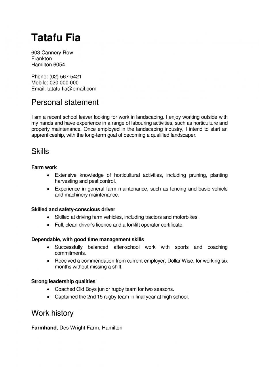 Skills based CV example